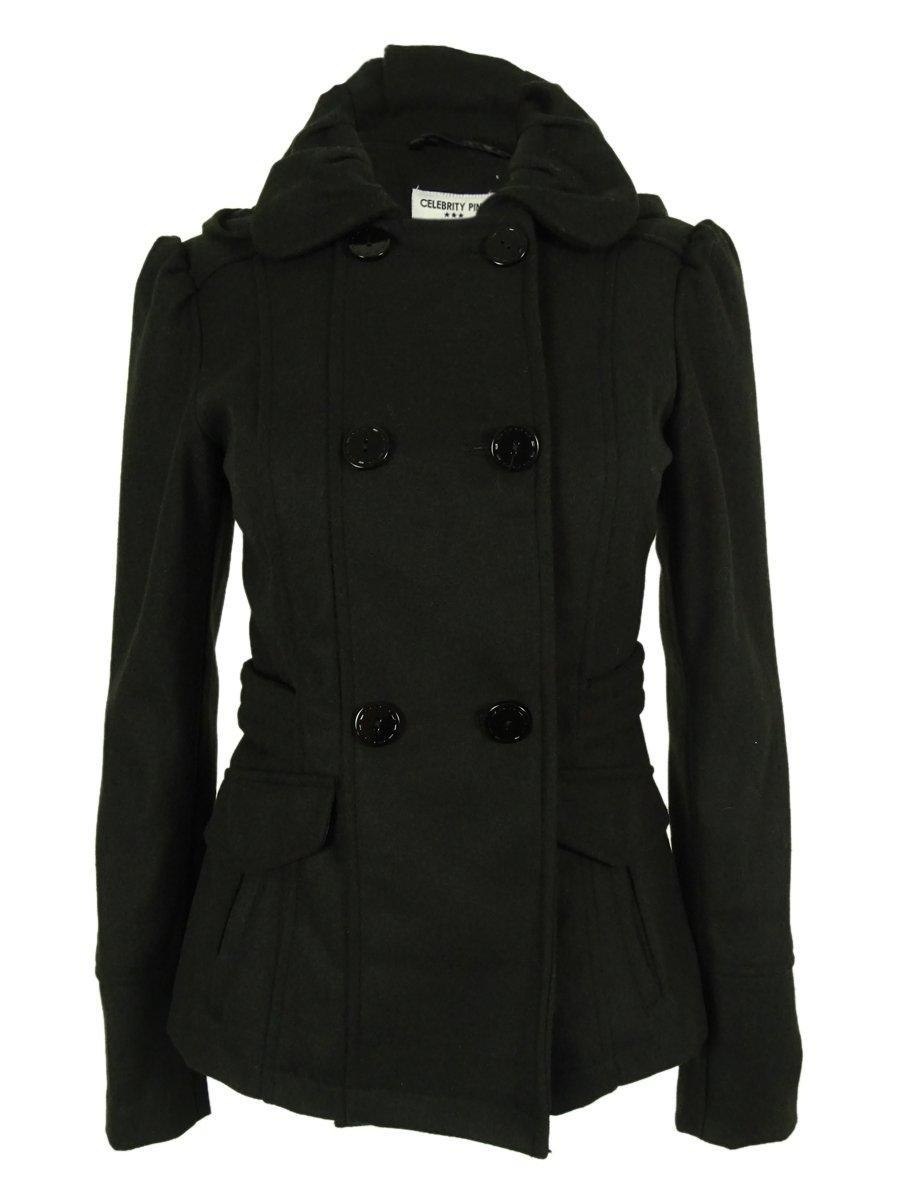 Online Store: Celebrity Pink Double-Breasted Peacoat - Black
