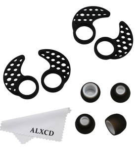 ALXCD Earhook for Jaybird Bluebud X X2, Small Size 2 Pair Anti-Slip Sport Ear Hook & 2 Pair Durable Soft Silicone Replacement Ear Tip, Fit for Jaybird X X2 Earphone (Black-S)