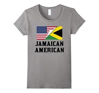 Women's Flags of Jamaica And USA Jamaican American T-Shirt Medium Slate
