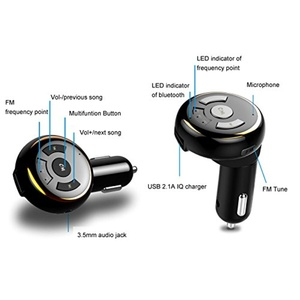 CandyQ 3 in 1 Wireless Bluetooth V4.0 FM Transmitter Car Kit Hands Free Calling