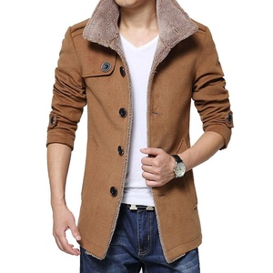 C-Pioneer Men's Slim Parka Fleece Winter Warm Jacket Trench Coat Casual Overcoat (L, Khaki)