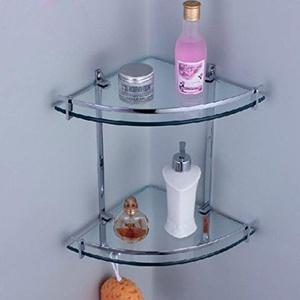 Bathroom Shelf Chrome Glass Wall Corner Shower Caddy Storage Cosmetic Shelf 2 Tier, Bathroom Shelf Glass
