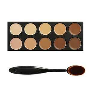 DE'LANCI 10 Colour Cosmetics Cream Complete Coverage Concealers Palette Makeup Kit with Make up Brush (10 Colour) by DE'LANCI