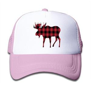 Kids Mesh Adjustable Buffalo Plaid Moose Red Black Cap Summer Hats