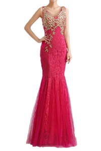 Winnie Bride Luxurious Appliqued Evening Ball Dress V-Neck Maxi Prom Party Gown-24W-Fuchsia