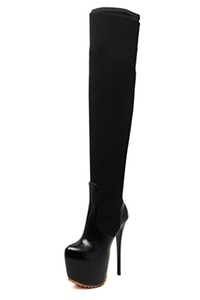 Juoar Women's Round Toe High Heels Above the Knee Boots Ladies Suede Zipper Stiletto Winter Warm Shoes Suede Black US7