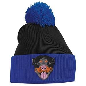Pom Pom Beanie - Rottweiler - Royal Blue and Black