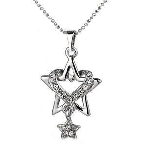 Gudeke Fashion Simple Womens Diamonds Love Double Five-pointed Stars Necklace Pendants 52cm Chain