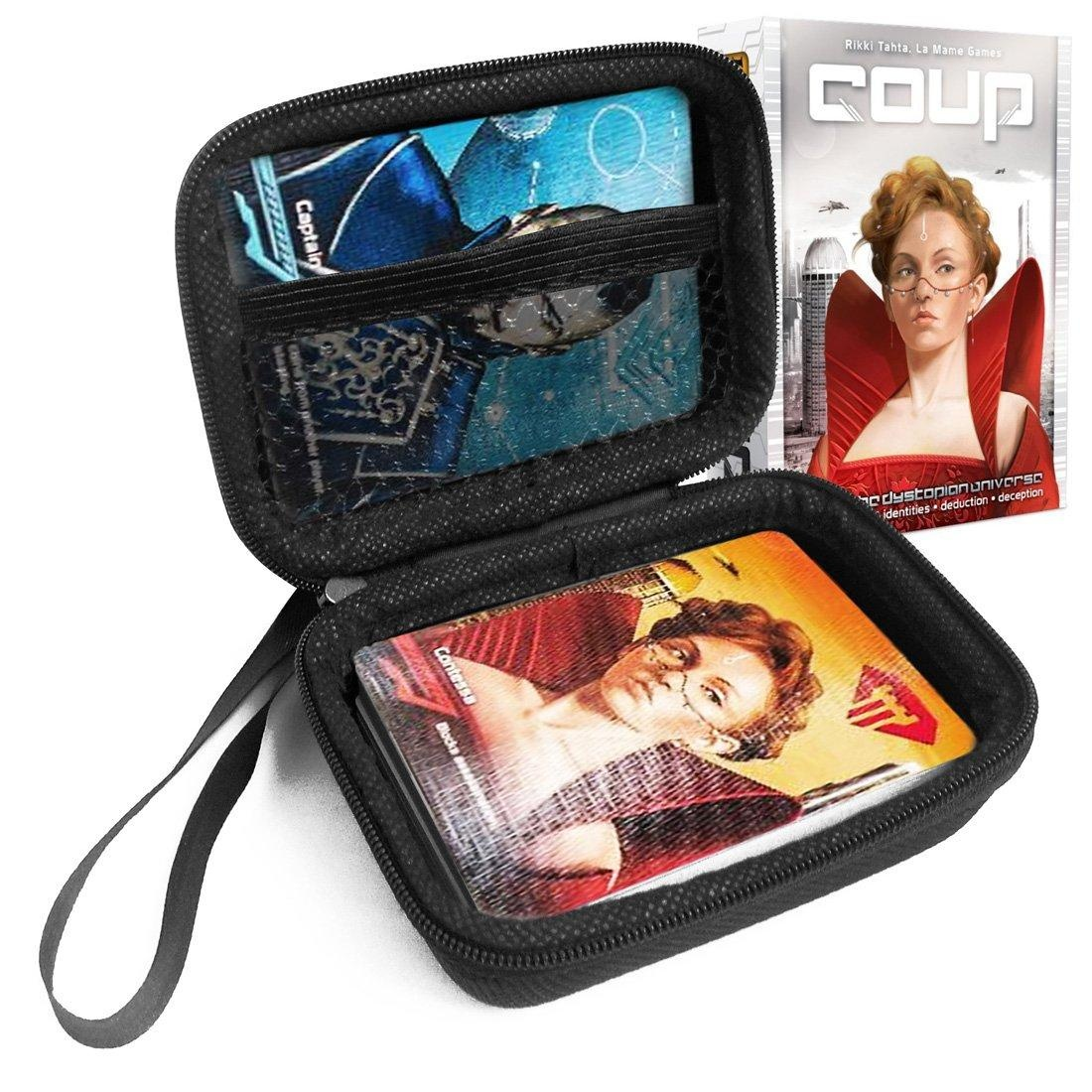 FitSand (TM) Zipper Carry Travel EVA Hard Case for Coup Card Game - Black Box, Blacker Box, Best Protection for Coup Cards
