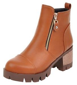 Summerwhisper Women's Trendy Splicing Side Zipper Round Toe Stack Block High Heel Platform Ankle Boots Brown 4.5 B(M) US