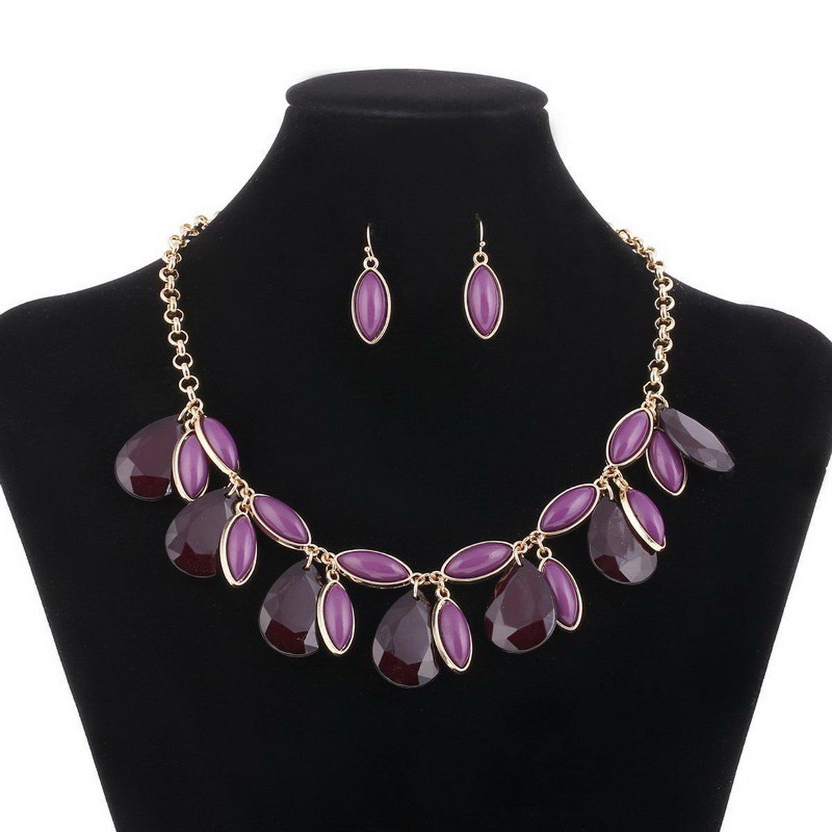 ARICO Multi Layer Jewelry Sets Tessal Necklace Set Earrings Parure Bijoux Femme Jewellery Gold Plated Jewelry Set NE248