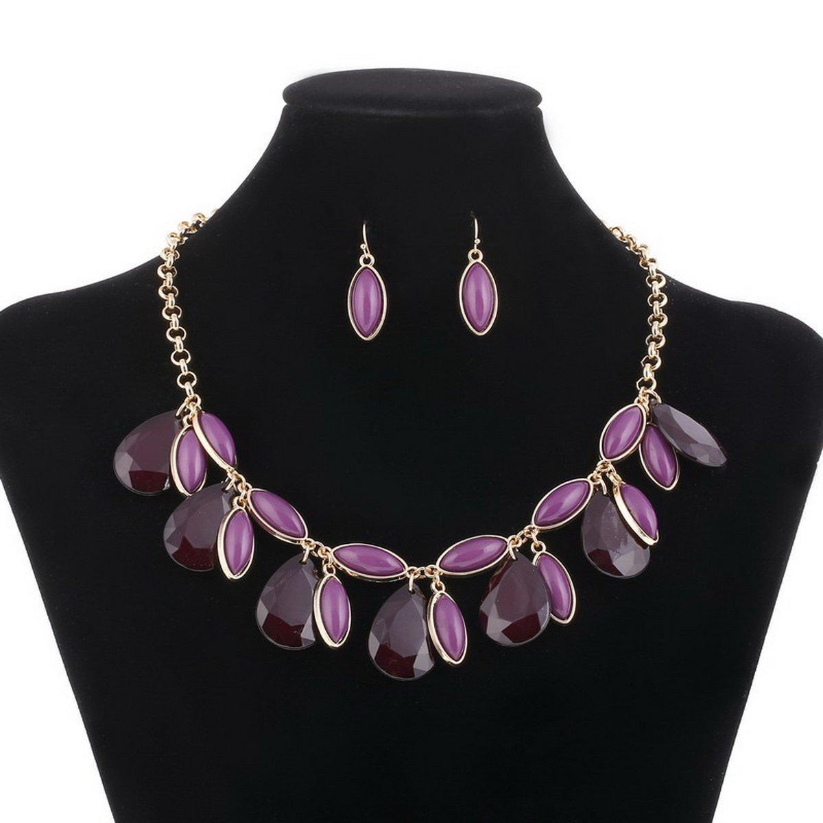 ARICO Statement Multi Layered Necklace Set Earrings Parure Bijoux Femme Jewellery Gold Plated Jewelry Set NB613