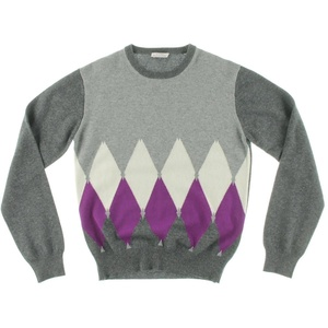 Ballantyne Girls Colorblock Ribbed Trim Pullover Sweater Gray