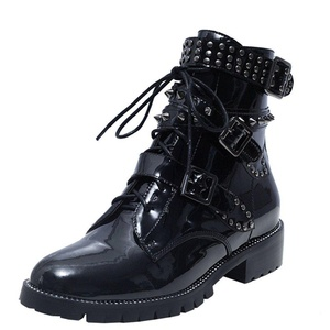 Nine Seven Patent Leather Women's Round Toe Chunky Heel Lace Up Buckles Handmade Ankle Bootie with Rivets (9, black)