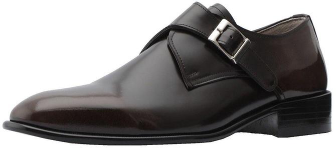 Holstyle Handmade Men's Monkstrap Slip-on Leather Plaintoe Dress Shoes HSB-2922 dark-brown 10.5