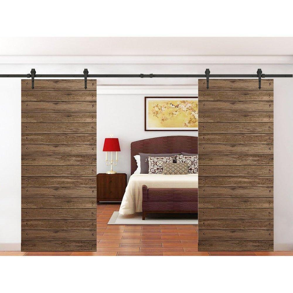 Online store hahaemall top mounted black rustic for Double hung sliding barn doors