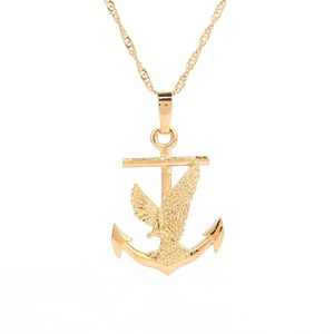 24K Gold Plated Flying Bald Eagle Anchor Cross Pendant Jewelry