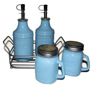 Vintage Style Mason 5 piece Painted Glass Condiment Set - Pastel Blue