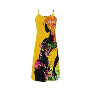 Abbie Miller Sketch Custom Women's Polyester Casual Slip Dress Yellow G