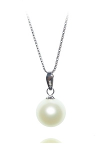 18K Gold Freshwater Cultured Round Pearl Pendant 7mm + 925 Sterling Silver Chain 16