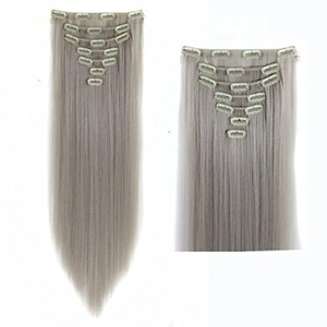 24 Inches Silver Grey Long Silky Straight Clip in on 7 Pieces Full Head Set Hair Extensions 7pcs Hairpiece