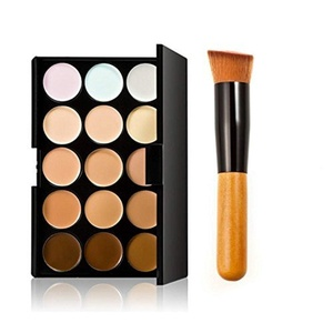 Makeup you-15 Colours Cream Concealer/Highlight/Face Contour Camouflage Palette Dull/Redness Skin/Black Circle kit set + Flat Angled Makeup Brush by Makeup you