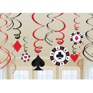 Casino Hanging Decorations - 60cm Hanging Swirls by Casino Hanging Decorations - 60cm Hanging Swirls