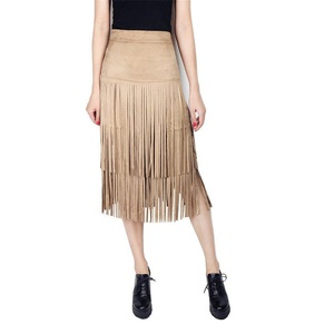 Sunsnow Women Faux Suede Knee Length Skirt with Fringe Stretchy High Waist Skirts (M, Khaki)
