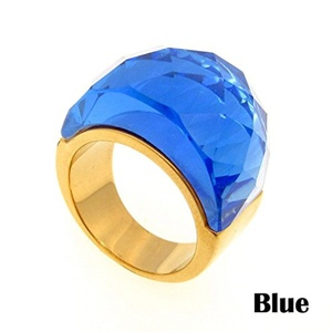 Dudee Jewelry Stainless Steel Gold Ring Wedding Jewelry Big Crystal Ring Vintage Large Stone Ring