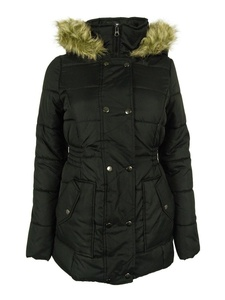 Junior Women's Krush Hooded Puffer Coat with Faux Fur Trim Black XS