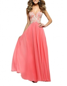 Winnie Bride Classy Long Prom Dress Chiffon with Lace Formal Evening Party Gown