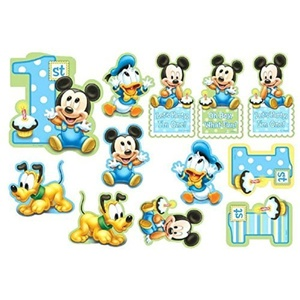 12-Piece Mickey's 1st Birthday Value Pack Cutout Decor, Blue by Napkins