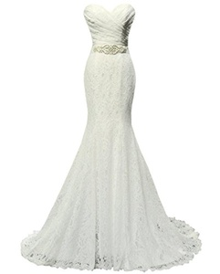 Women's Beaded Pleat Lace Wedding Dress Mermaid Bridal Gown with Sash Ivory