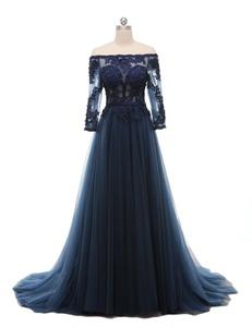 Favors Women's Off Shoulder A Line Evening Dress Lace Long Formal Gown Navy Blue 20W
