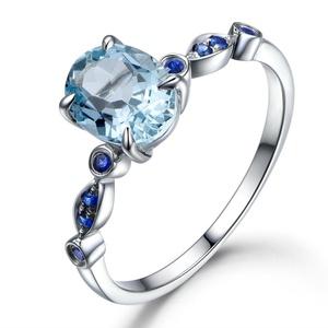 Blue Aquamarine Engagement Ring,6mm Oval Stone,14K White Gold Ring,Wedding Promise Band,Anniversary