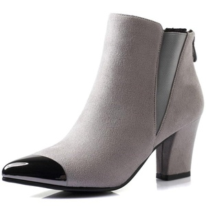 LongFengMa Women's High Heel Ankle Boots Pointed Toe Suede Zipper Shoes (5.5 B(M) US, Gray )