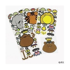 12 Sheets of Make Your Own Safari Animal Stickers by FE