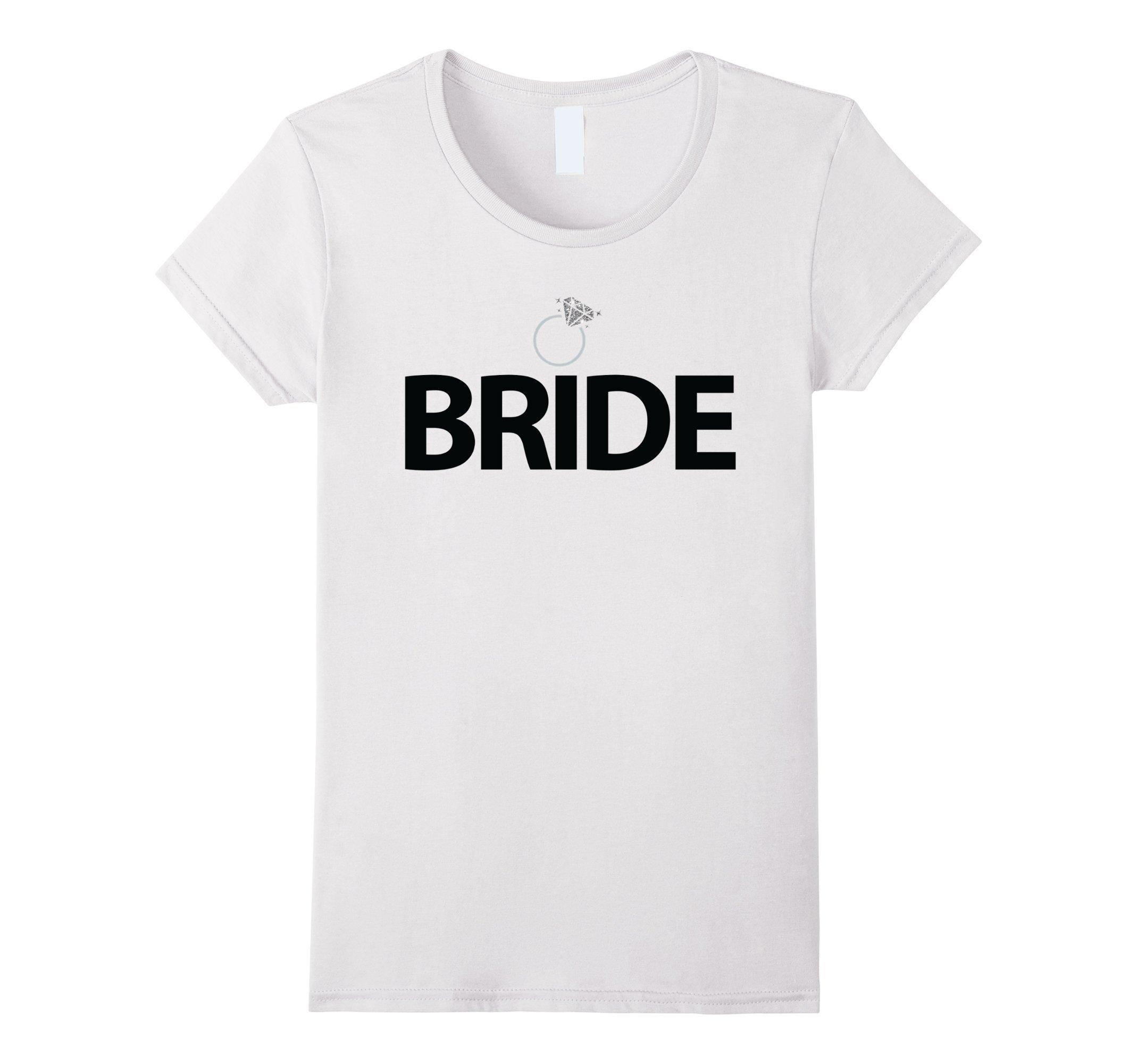 Women's Bride Shirts With Ring White Bachelorette Party Shirts Small White