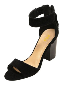 FSJ Black Open Toe Sandals with Tassels Ankle Straps for Women Dress Stacked Heels Suede Shoes Size 6 US