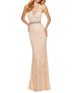 Meledy Women's Halter V-Neck Lace Appliques Open Back Sleeveless Mermaid Formal Prom Evening Dress Chanpagne and Pink US06