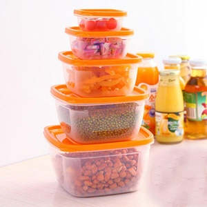 ONEONEY Plastic Food Storage Containers Food Savers Lunch Boxes Leak-Resistant, Set of 5-(Orange,rectangular)