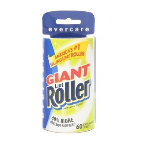 2 x Evercare Giant Lint Roller, 60 Extra Large Sheets, Refill 1 ea