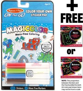 Blue Color-Your-Own Sticker Pad: On-the-Go Series + FREE Melissa & Doug Scratch Art Mini-Pad Bundle (91305)