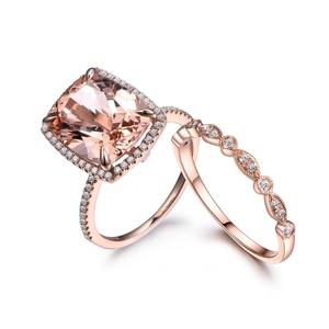 14K Rose Gold Half Eternity Wedding Set,Cushion Cut Morganite Ring,Diamond Engagement Ring,Reco Band