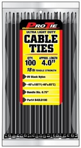 Pro Tie B4ULD100 4-Inch Ultra Light Duty Standard Cable Tie, UV Black Nylon, by Pro Tie
