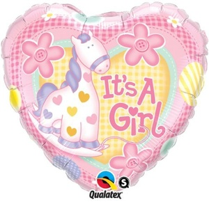 New Baby It's A Girl Soft Pony Qualatex 18 Foil Balloon by Baby, Christening & Baby Shower