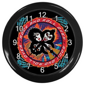 Wall clock LZWC 033 New Wall Clock Kiss Rock and Roll Over Wall Clock Rare Design! #BLACK