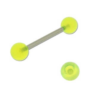 Acrylic Barbell Tongue Ring with Neon Yellow Ball