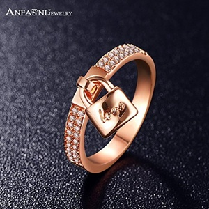 Slyq Jewelry Love You Fashion Women Lock Ring Rose Gold Plt Cubic Zirconia Engagement Ring CRI0145-A