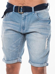 Mens Cuffed Denim Distressed short Ripped Details Light Wash Belted Slim Fitted Above Knee Jeans Capri Joggers Button flap Zip Fly